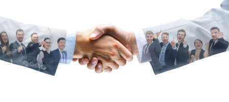 Photo pour shaking hands and business team - image libre de droit