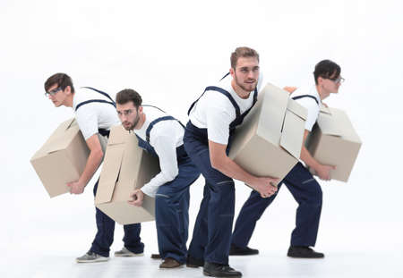 Responsible movers  in a hurry to do their job.