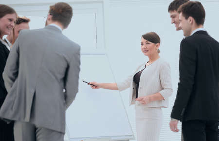business woman makes presentation of a new marketing project