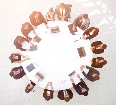 view from the top.meeting business partners for round - table.