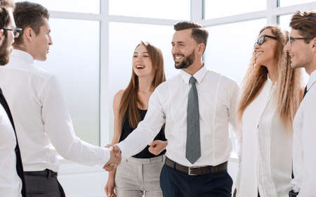 Photo for handshake of young business partners in the office. - Royalty Free Image