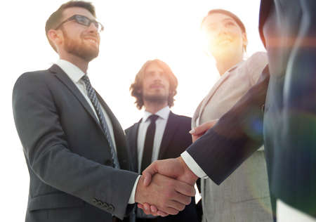 Photo for business people handshaking after good deal. - Royalty Free Image