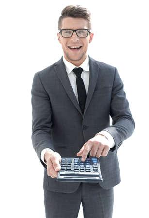 Photo pour mens hand on calculators keyboard - image libre de droit