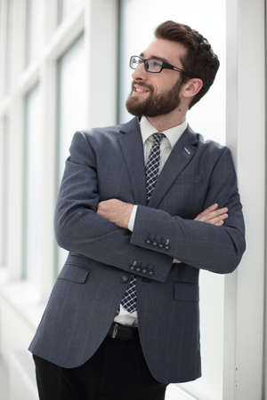 close up.young businessman standing in the office