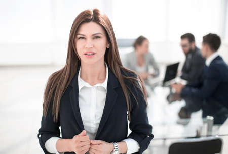 Photo for young business woman on the background of the office - Royalty Free Image