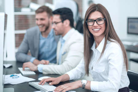 Photo for business woman on the background of the office - Royalty Free Image