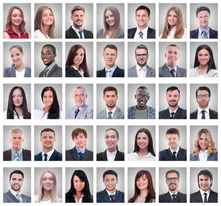 Photo pour collage of portraits of successful young businessmen - image libre de droit