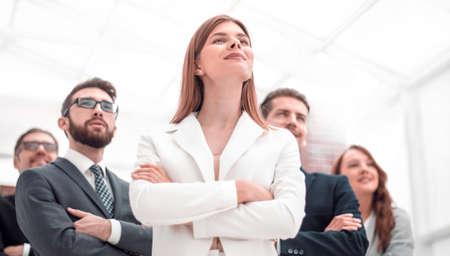 Photo pour successful business team standing in the office - image libre de droit
