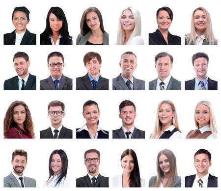 Photo pour collage of portraits of business people isolated on white - image libre de droit