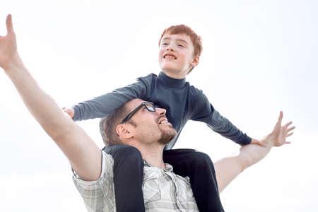 Photo pour portrait of happy father and son - image libre de droit