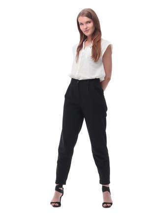 Photo pour elegant young business woman. isolated on white - image libre de droit