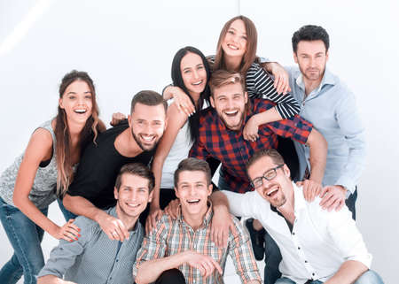 Photo pour cheerful group of promising young people - image libre de droit