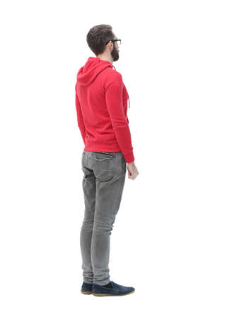 Photo pour rear view. modern trendy guy looking for a copy space - image libre de droit