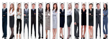 Photo pour in full growth. the group is successful young entrepreneurs - image libre de droit
