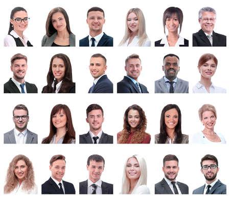 Foto de collage of portraits of business people isolated on white - Imagen libre de derechos