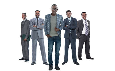 Photo pour in full growth.leader standing in front of his business team. - image libre de droit