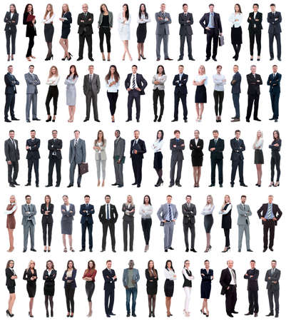 Photo pour collage of young business people standing in a row. isolated on white background . - image libre de droit