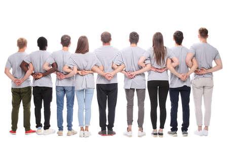 Photo pour rear view. a large group of motivated young people. - image libre de droit