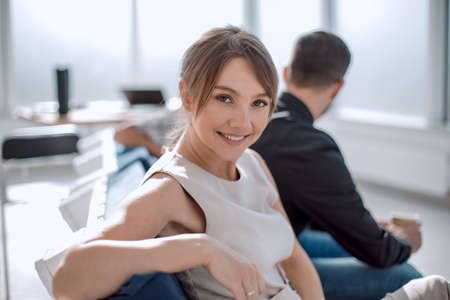 Photo pour young businesswoman at a meeting in a modern office - image libre de droit