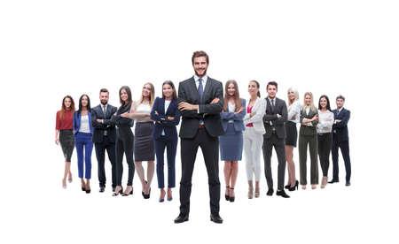 Foto de leader standing on the background of a large business team - Imagen libre de derechos