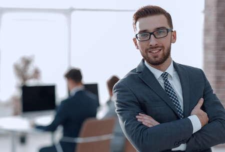 Photo pour successful businessman on background of office - image libre de droit