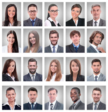 Photo pour collage of portraits of young businessmen and businesswoman - image libre de droit