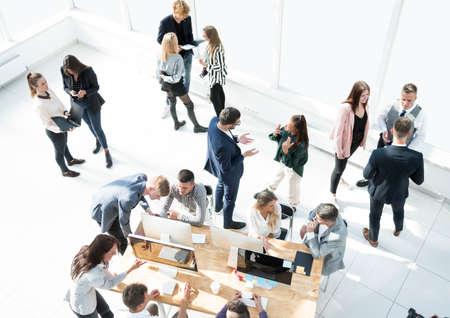 Photo pour top view. business team operates in a modern office - image libre de droit
