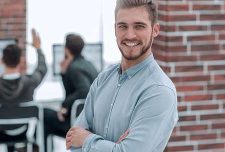 Photo pour Handsome smiling confident businessman portrait. - image libre de droit