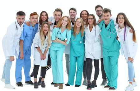 Photo pour top view. a group of smiling doctors pointing at you. - image libre de droit