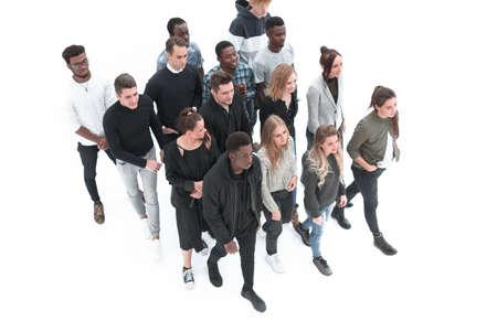 Photo pour group of diverse young people walking together - image libre de droit