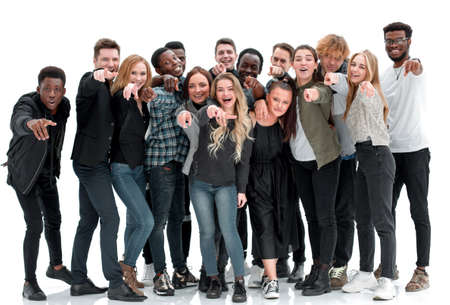 Photo pour full length . group of happy young people pointing at you - image libre de droit