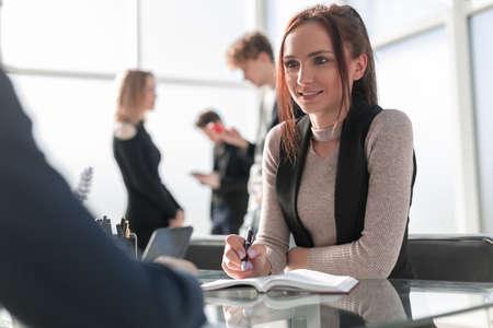 Photo pour Financial director ready affirm official paper with signature - image libre de droit