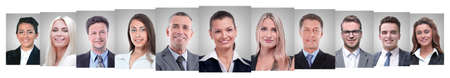 Photo for panoramic collage of portraits of successful business people - Royalty Free Image