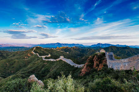 Foto de Sunrise at Jinshanling Great Wall of China, Jinshanling, Beijing, China - Imagen libre de derechos