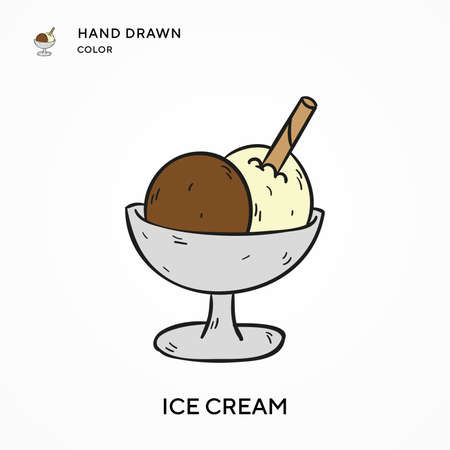 Ice cream Hand drawn color icon. Modern vector illustration concepts. Easy to edit and customize