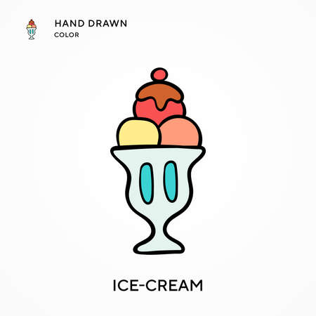 Ice-cream Hand drawn color icon. Modern vector illustration concepts. Easy to edit and customize