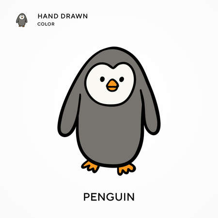 Penguin Hand drawn color icon. Modern vector illustration concepts. Easy to edit and customize