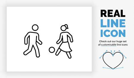 Ilustración de Editable real line icon of children playing - Imagen libre de derechos