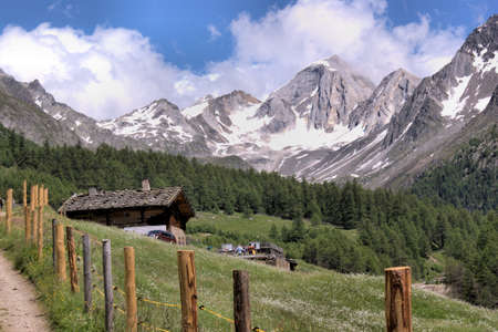 Snow-capped summits of the Oetztal Alps in South Tyrol, Italy. Alpine hut in the Pfossental, flower meadows, blue sky and white clouds