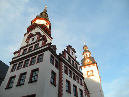 The town hall towers of Chemnitz in Saxony, Germany, view from the frog perspective