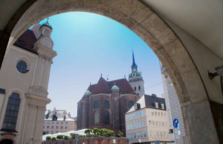 View through an arch in the city of Munich in Bavaria, Germany