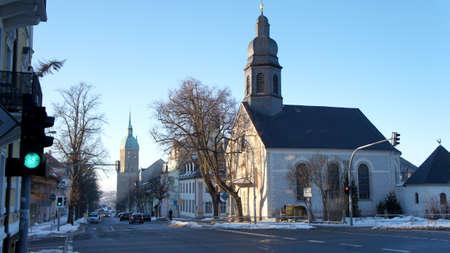The Landmark of the mining city AnnabergBuchholz the St. Anne39s Church and the Catholic left Parish Church Holy Cross
