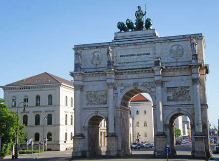 The Victory Gate in Munich, three-arched triumphal arch with a statue of Bavaria with a lion quadriga, Historic Landmark