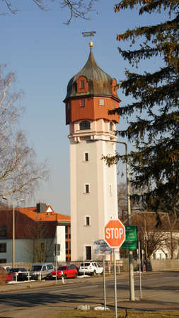 Old watertower on the edge of the town of Freiberg in Saxony, Germany