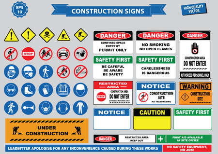 Set of Construction sign (warning, site safety, use hard hat,children must not play on this site, no admittance to unauthorized personnel, safety hard helmet, boots and vest must  worn at all times)