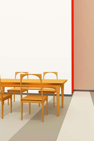 Table set of solid wood, 3d illustration