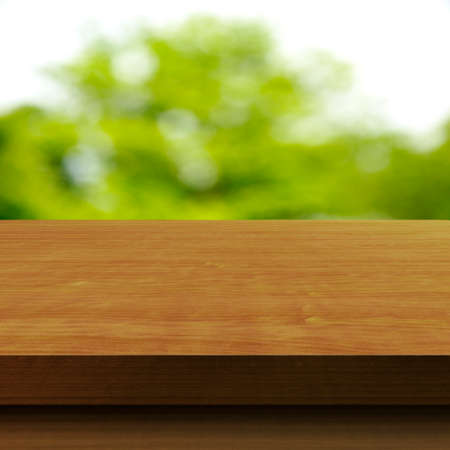 Wooden tabletop with blurred background