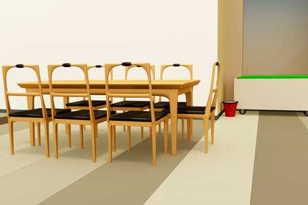 dining room, 3d-illustration
