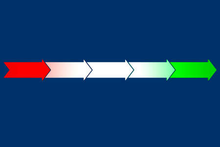 Arrows from red to green, 3d illustration