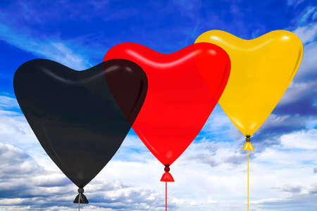 Heart balloon in german national colors, 3D illustration